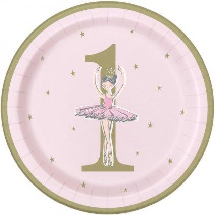 Talíře papírové narozeninové 1. rok Baletka pastelově růžové  8ks