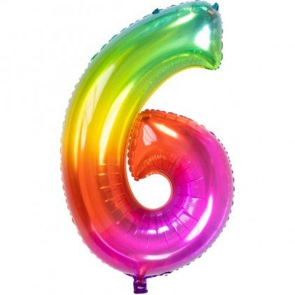 BALÓNEK číslice 6  duhový Rainbow 86 cm