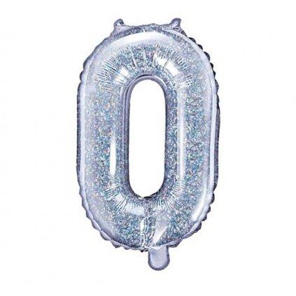 BALÓNEK fóliový  číslo 0 holografická stříbrné 35cm