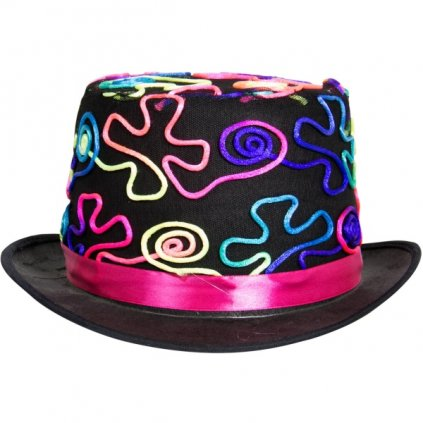 Klobouk na party - černý zdobený  neonový