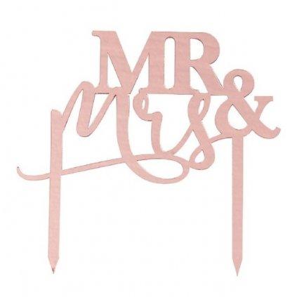 DEKORACE na dort Mr&Mrs akrylová Rose Gold 15x16cm