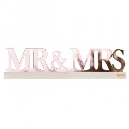 DEKORAČNÍ nápis akrylový Mr&Mrs na dřevěném podstavci 30x7,5cm