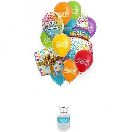 HELIUM & balonkový set Happy Birthday