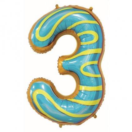 BALÓNEK fóliový číslice 3 Sušenka 78cm