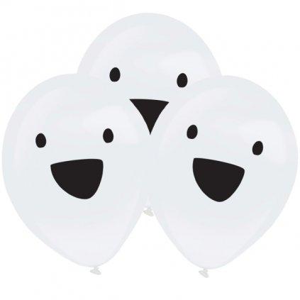 Halloweenské svítící  latexové led  balonky  Duch27,5cm 4ks