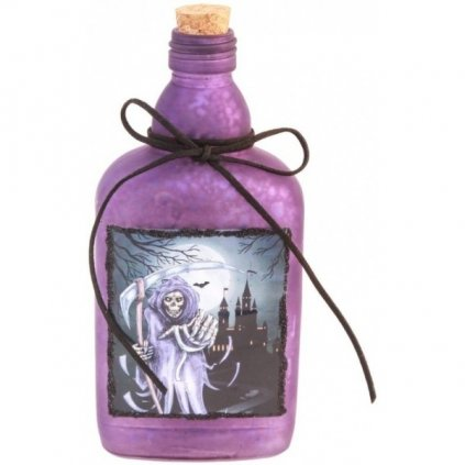 Halloweenská láhev skleněná  Elixír smrti fialový