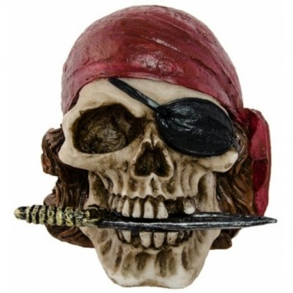 Dekorace - Lebka s pirátským šátkem  10,5cm