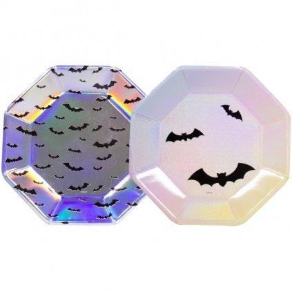 Halloweenské talířky Netopýři 23cm 6ks