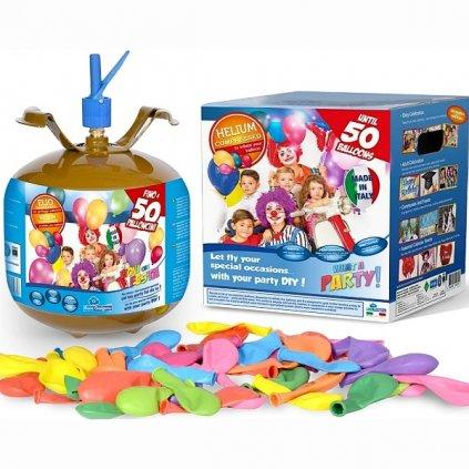 Helium do 50 balonků (balonky součástí balení)