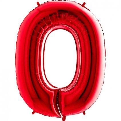 Balonek foliová číslice 0 červená velká 105cm