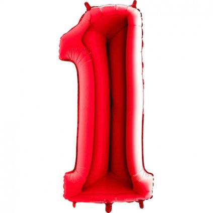 Balonek foliová číslice 1 červená velká 105cm