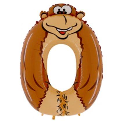 """Balonek foliová číslice 0 tematická """"Opice""""  102cm"""