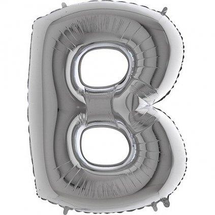 Balonek foliové stříbrné písmeno B velké  102cm