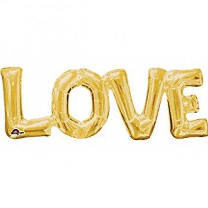 Balonek foliový nápis LOVE zlatý velký 63cm