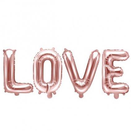 Balonek  nápis LOVE-  folie růžová - 140x35 cm