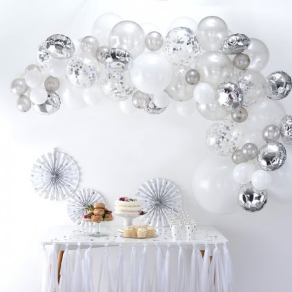 Balonkový set na výrobu balonkového oblouku (girlandy). Barva stříbrná