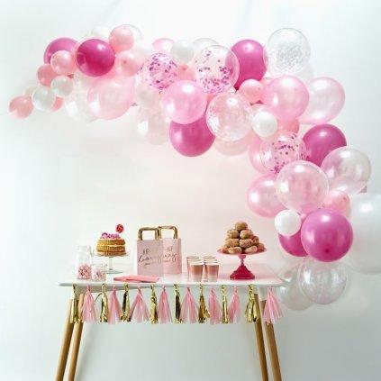 Balonkový set na výrobu balonkového oblouku (girlandy). Barva růžová