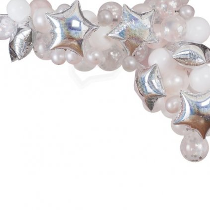 Balonkový set na výrobu balonkového oblouku se stříbrnými hvězdami. Barva stříbrná
