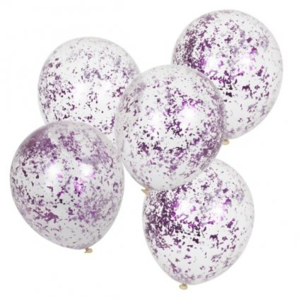 Balonky latexové s růžovými konfetami 5ks