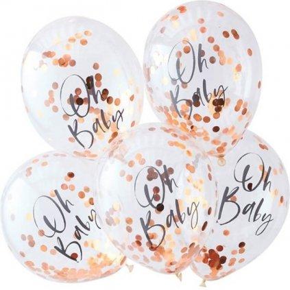 Balonky s konfetami růžové zlato 5 ks