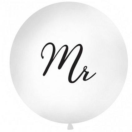 """Balón kuatý obří o průměru 1 m bílý s nápisem """"Mr"""""""