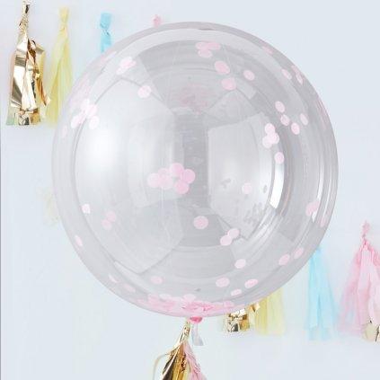 Balónkulatý obří o průměru 90 cm průhledné s růžovými konfetkami, 3 ks