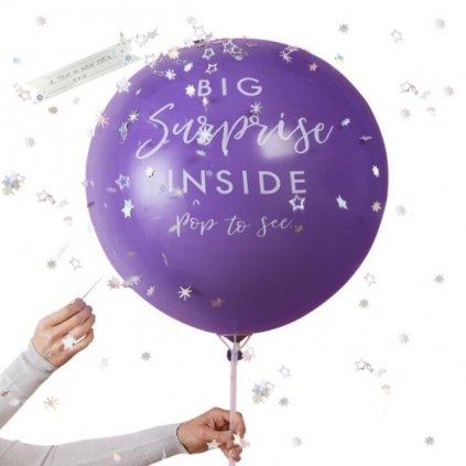 Balón s narozeninovým přáním z přírodního latexu fialový 90 cm