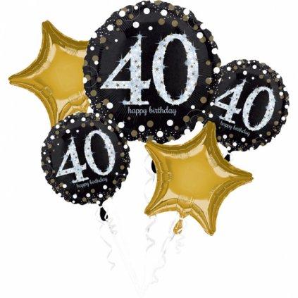 Balonkový buket 40.narozeniny 5 ks v balení velikost 30cm