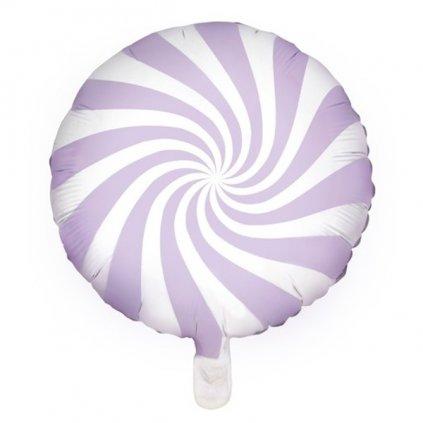 Balonek foliový designový bonbon 45 cm lila