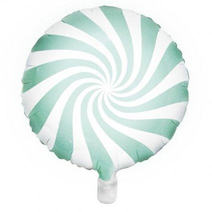 Balonek foliový designový bonbon 45 cm mint