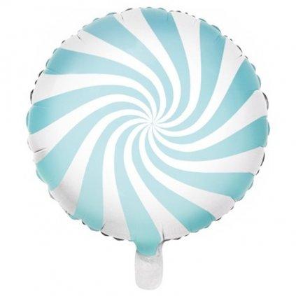 Balonek foliový designový bonbon 45 cm světle modrý