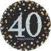 Talíře narozeninové 40 let čerozlaté 8ks