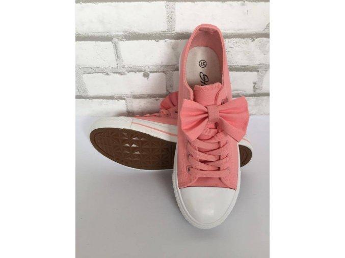 Dámské tenisky s mašlí růžové (Velikost 40)