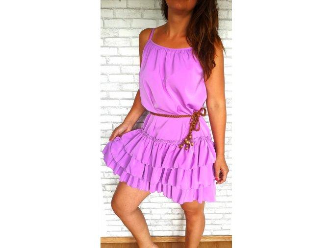 šaty volány lila
