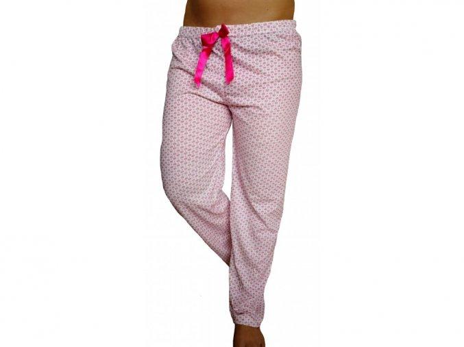 Dámské pyžamové kalhoty srdíčka červené