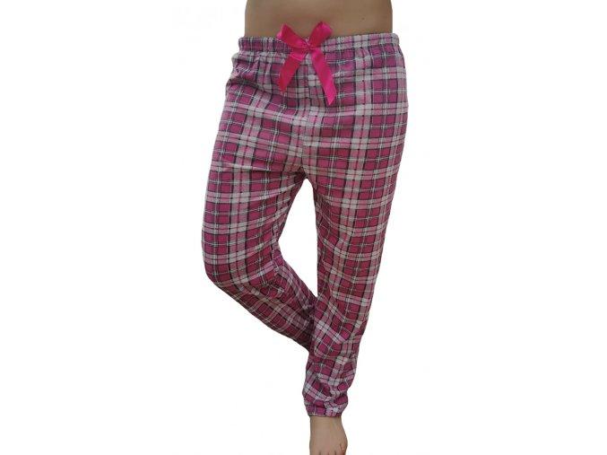 Dámské pyžamové kalhoty kostičky růžové