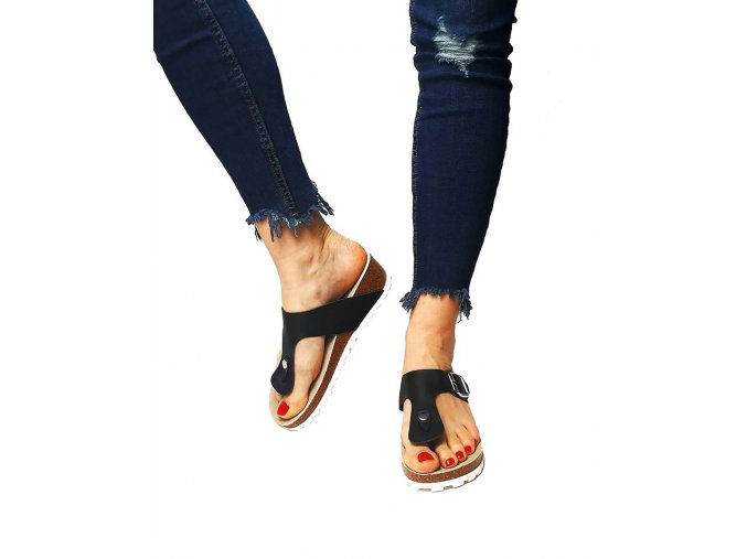 pantofle klínek černé