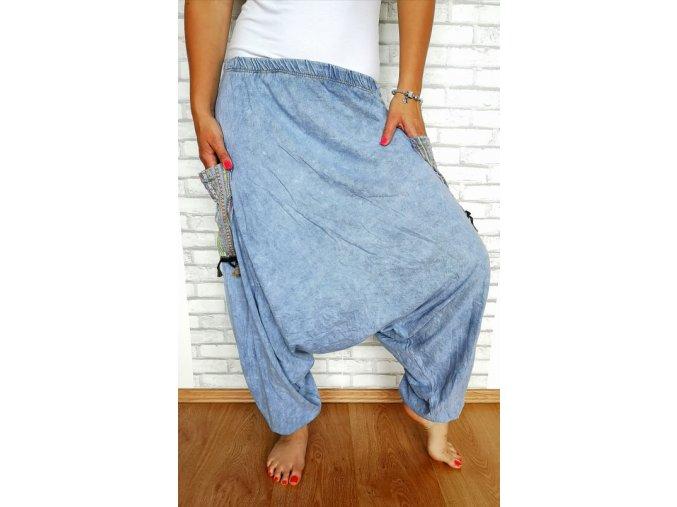 boho kalhoty modré