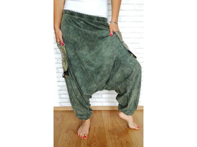 boho kalhoty zelené