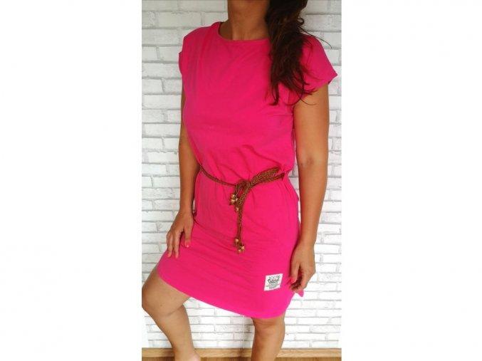 Dámské bavlněné šaty s páskem růžové