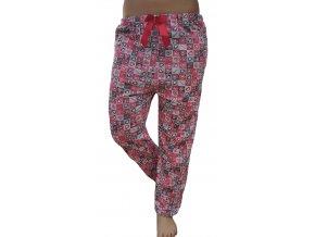 Dámské pyžamové kalhoty srdíčka červená