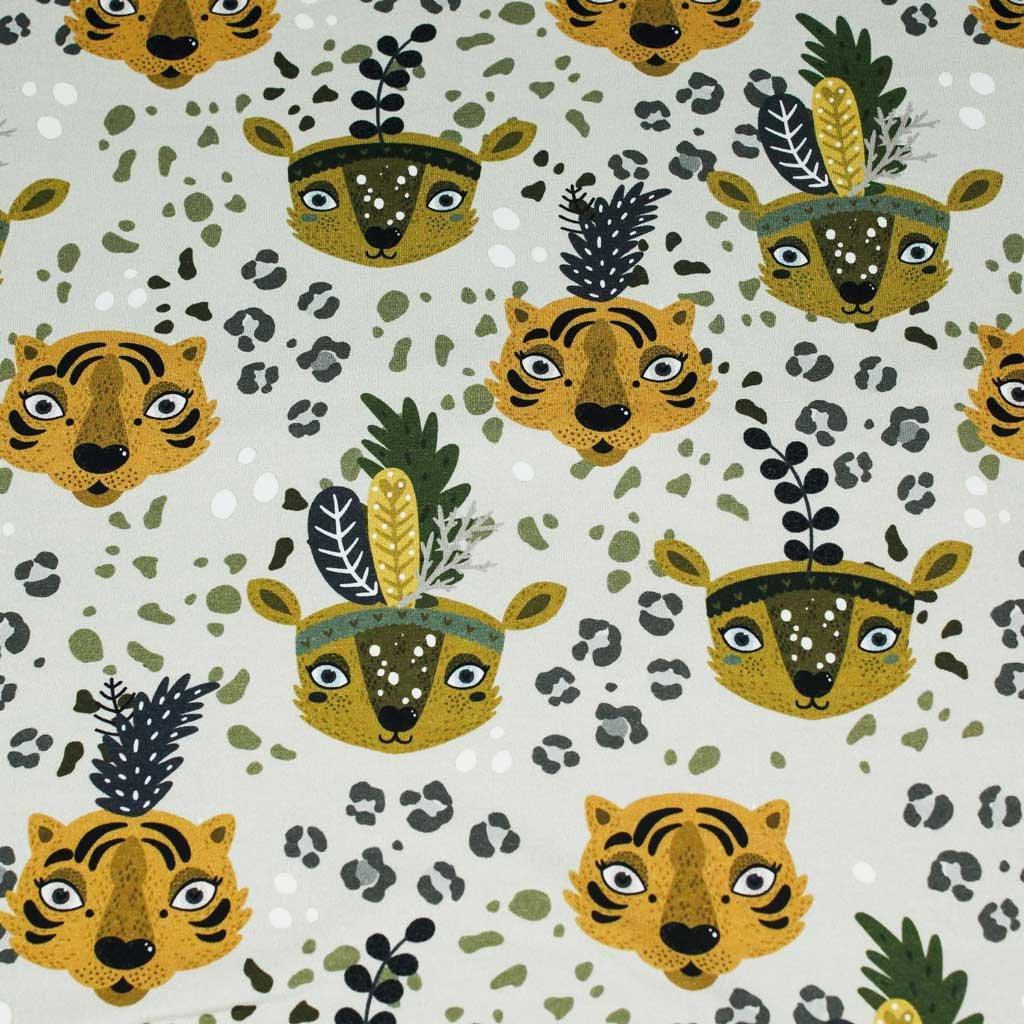 Teplákovina - hlavy leopard zelený