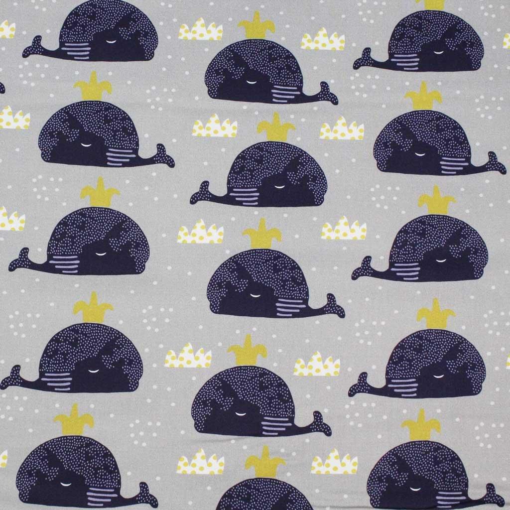 Bavlněná látka PREMIUM - velryby