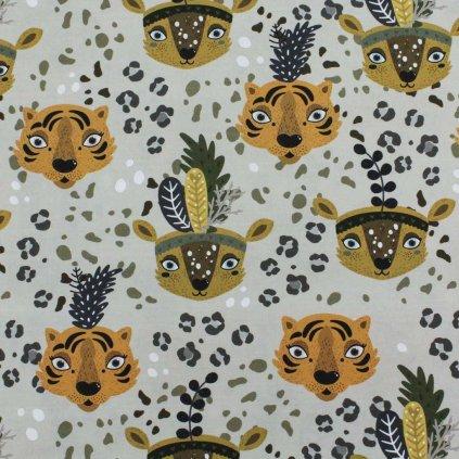 Bavlněná látka PREMIUM - hlavy leopard zelený