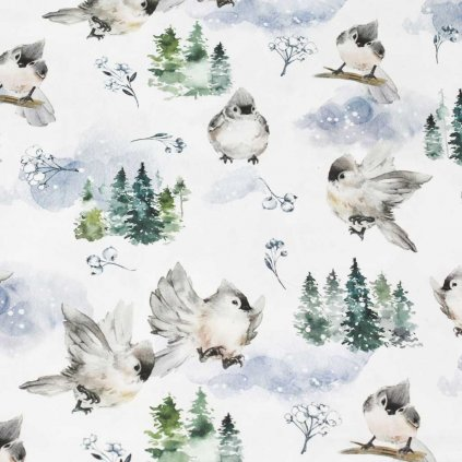 Bavlněná látka PREMIUM - zimní ptáčci