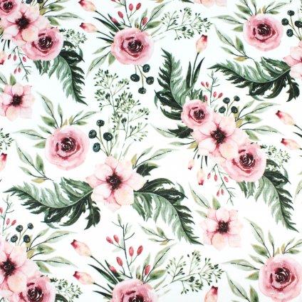 INTERLOCK SPORT- květy na bílé