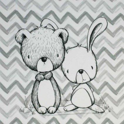 panel medvídek a zajíček