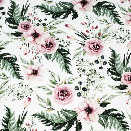 Teplákovina - květy na smetanové
