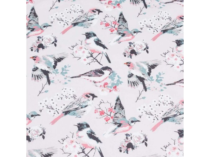 Bavlněná látka PREMIUM - Ptáčci na růžové