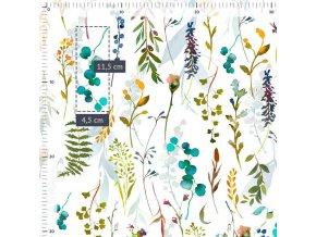 Bavlněná látka PREMIUM - Květy a lístky